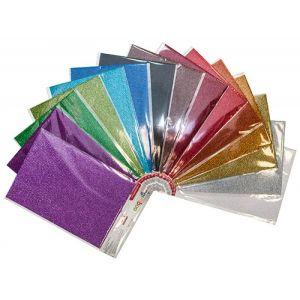 Karton dekoracyjny GIMBOO, fala, super brokat, A4, zawieszka, mix kolorów
