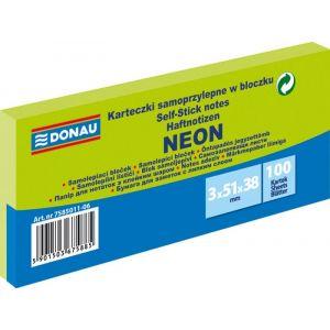 Self-adhesive pad, DONAU, 51x38mm, 3x100 sheets, neon, green