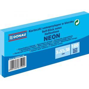 Self-adhesive pad, DONAU, 51x38mm, 3x100 sheets, neon, blue