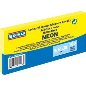 Self-adhesive pad, DONAU, 51x38mm, 3x100 sheets, neon, yellow