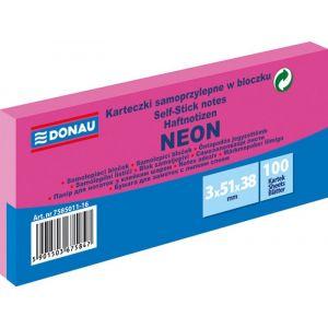 Self-adhesive pad, DONAU, 51x38mm, 3x100 sheets, neon, pink