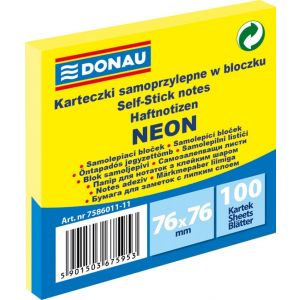 Self-adhesive pad, DONAU, 76x76mm, 1x100 sheets, neon, yellow