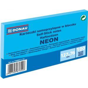 Self-adhesive pad, DONAU, 127x76mm, 1x100 sheets, neon, blue