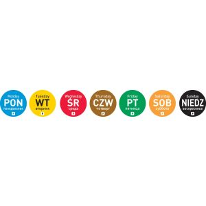 Food safety stickers for every day of the week