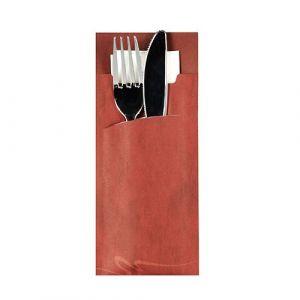 Etui-koperta na sztućce, 20 x 8,5 cm, opakowanie 520 szt., bordowy z kolorową serwetką