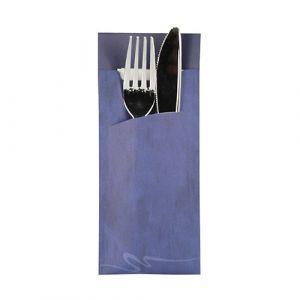 Etui-koperta na sztućce, 20 x 8,5 cm, opakowanie 520 szt., niebieskie z kolorową serwetką