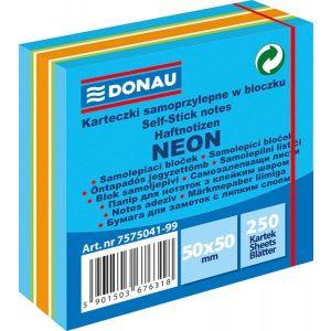 mini cube, self-adhesive, DONAU, 50x50mm, 1x250 sheets, neon-pastel, mix of blue