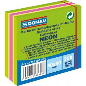 Mini kostka samoprzylepna DONAU, 50x50mm, 1x250 kart., neon-pastel, mix zielony