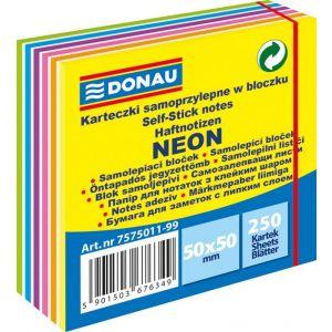 Mini kostka samoprzylepna DONAU, 50x50mm, 1x250 kart., neon, 11-warstw, neon-pastel, mix kolorów