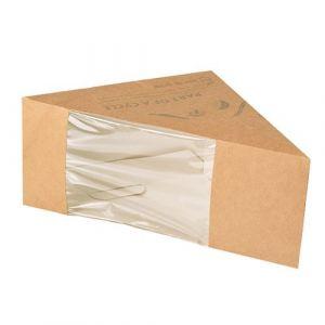 """Pudełka na kanapki z kartonu powlekane PLA z okienkiem, """"pure"""", 12,3 cm x 12,3 cm x 8,2 cm, brązowe, cena za 50szt"""