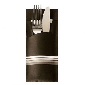"""Etui-koperta na sztućce, 20 x 8,5 cm, opakowanie 520 szt.,""""Stripes"""" kolor czarno/biały"""