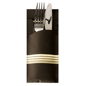"Etui-koperta na sztućce, 20 x 8,5 cm, opakowanie 520 szt.,""Stripes"" kolor czarny/kremowy"