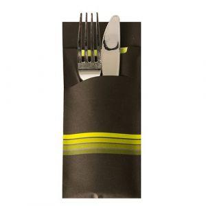 """Etui-koperta na sztućce, 20 x 8,5 cm, opakowanie 520 szt.,""""Stripes"""" kolor czarny/limonka"""
