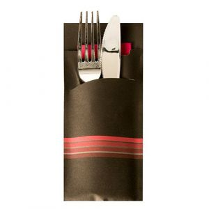 """Cutlery pocket, 20 x 8.5 cm, pack of 520 pieces, """"Stripes"""" colour black/maroon"""