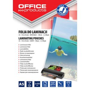 Lamination foil, OFFICE PRODUCYS, A5, 2x100 micr; glossy, 100 pcs, transparent