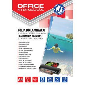Lamination foil, OFFICE PRODUCYS, A4, 2x80 micr; glossy, 100 pcs, transparent