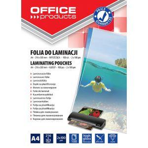 Lamination foil, OFFICE PRODUCYS, A4, 2x100 micr; glossy, 100 pcs, transparent