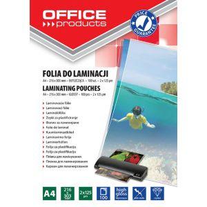 Lamination foil, OFFICE PRODUCYS, A4, 2x125 micr; glossy, 100 pcs, transparent