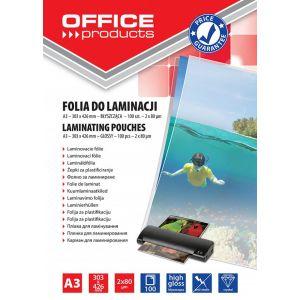 Lamination foil, OFFICE PRODUCYS, A3, 2x80 micr; glossy, 100 pcs, transparent
