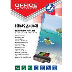 Lamination foil, OFFICE PRODUCYS, A3, 2x125 micr; glossy, 100 pcs, transparent