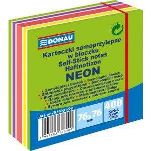 Kostka samoprzylepna DONAU, 76x76mm, 1x400 kart., neon-pastel, mix zielony