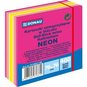 Kostka samoprzylepna DONAU, 76x76mm, 1x400 kart., neon-pastel, mix różowy