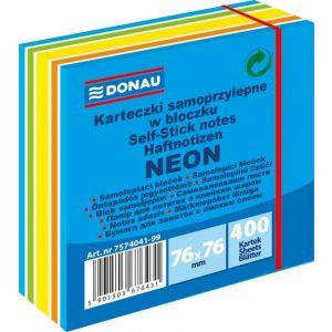 Kostka samoprzylepna DONAU, 76x76mm, 1x400 kart., neon-pastel, mix niebieski