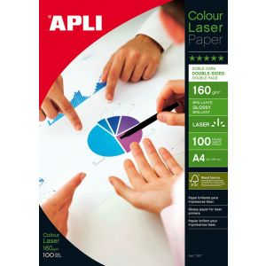 Papier fotograficzny APLI Glossy Laser Paper, A4, 160gsm, błyszczący, 100ark.