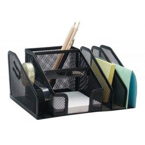 Przybornik na biurko Q-CONNECT Office Set, metalowy, 6 komór + dyspeneser do taśm, czarny