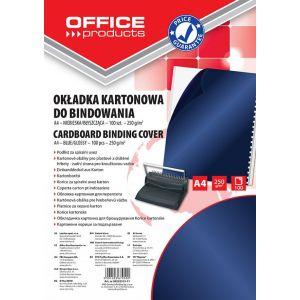 Okładki do bindowania OFFICE PRODUCTS, karton, A4, 250gsm, błyszczące, 100szt., ciemnoniebieski