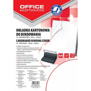 Okładki do bindowania OFFICE PRODUCTS, karton, A4, 250gsm, błyszczące, 100szt., białe