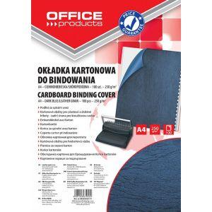 Okładki do bindowania OFFICE PRODUCTS, karton, A4, 250gsm, skóropodobne, 100szt., ciemnoniebieskie