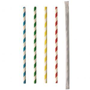 """Słomki papierowe 6mm dł.20cm """"Stripes mix"""" kolorowe paski - pojedynczo pakowane op. 100 sztuk"""