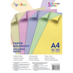 Coloured paper, GIMBOO, A4, 100 sheets, 80 gsm, 5 pastel colours