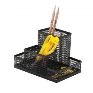 Przybornik na biurko Q-CONNECT Office Set, metalowy, 4 komory, czarny