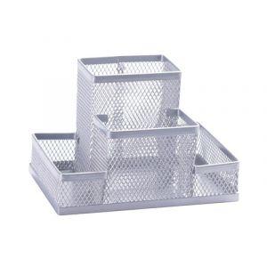 Przybornik na biurko Q-CONNECT Office Set, metalowy, 4 komory, srebrny