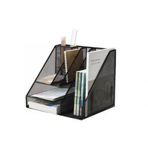 Organizer z przybornikiem Q-CONNECT Office Set, metalowy, A4, czarny