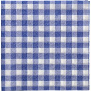 """Napkins 33x33 1W blue checkered op.100pcs 1/4 """"Vichy Karo"""" (k/10)"""
