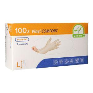 Rękawiczki winylowe bezpudrowe 100szt L Medi-Inn clear diagnostyczne (k/10)