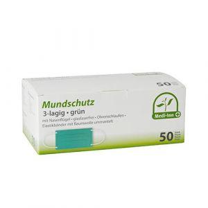 Maska ochronna na usta 3W op.50szt Medi-Inn® 9 cm x 17,5 cm, zielone, ze wzmocnieniem na nos