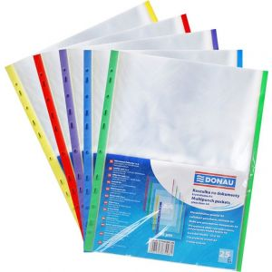 Koszulki na dokumenty DONAU, PP, A4, krystal, 40mikr., kolorowy brzeg - mix kolorów, 25szt.