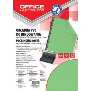 Okładki do bindowania OFFICE PRODUCTS, PVC, A4, 200mikr., 100szt., zielone transparentne