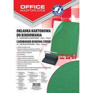 Okładki do bindowania OFFICE PRODUCTS, karton, A4, 250gsm, skóropodobne, 100szt., zielone