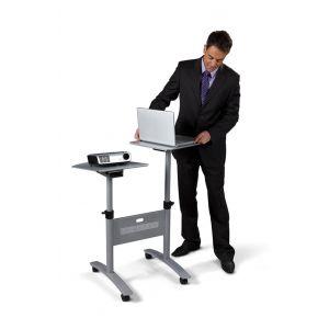 Stolik multimedialny do projekcji NOBO, mobilny, metalowy, dwupoziomowy, srebrny