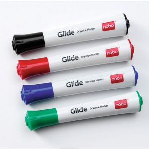 Marker for board, NOBO Glide Drymarker, round, 1-3mm, 4 pcs, assorted colours