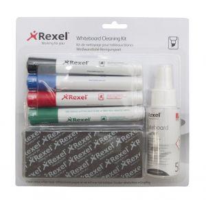 Zestaw do tablic REXEL, spray, gąbka niemagnetyczna oraz 4 markery