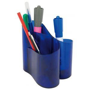 Przybornik na biurko ICO Lux, transparentny niebieski