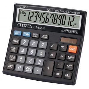 Office calculator, CITIZEN CT-555N, 12-digit, 130x129mm, black