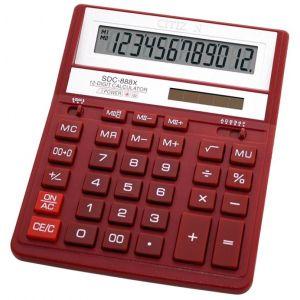 Kalkulator biurowy CITIZEN SDC-888XRD, 12-cyfrowy, 203x158mm, czerwony