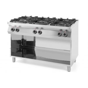 6-burner Kitchen Line gas cooker on an open base - code 226094